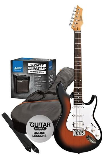 ashton electric guitar pack amp sunburst perth mega music online. Black Bedroom Furniture Sets. Home Design Ideas