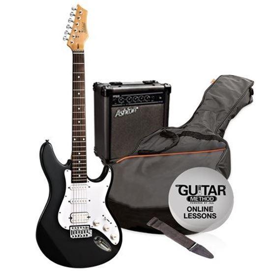 ashton electric guitar pack amp black perth mega music online. Black Bedroom Furniture Sets. Home Design Ideas