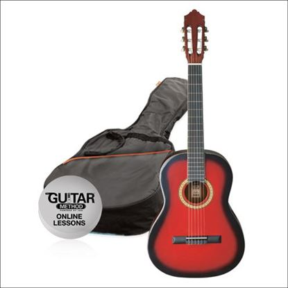 Ashton SPCG44TRB - Full Size Classical Guitar Starter Pack - Red