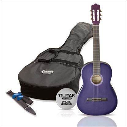 Ashton SPCG44TP - Full Size Classical Guitar Starter Pack - Purple