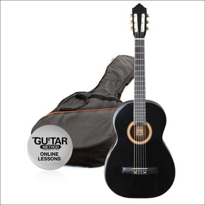 Ashton SPCG44TBK - Full Size Classical Guitar Starter Pack - Black