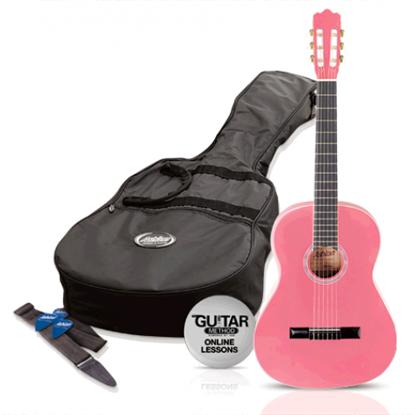 Ashton SPCG14PK - 1/4 Size Classical Guitar Starter Pack - Pink