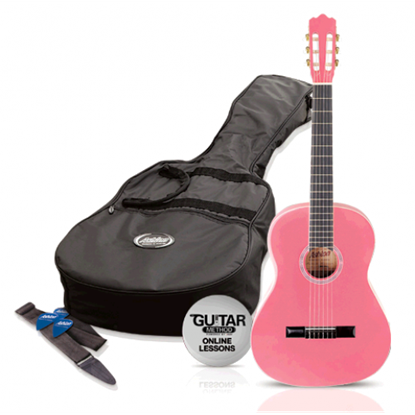 Picture of Ashton SPCG12PK - 1/2 Size Classical Guitar Starter Pack - Pink