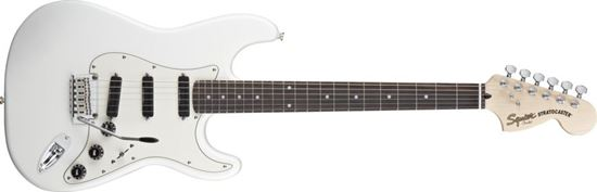 Squier Deluxe Stratocaster Hot Rails Electric Guitar Laurel Fretboard Olympic White