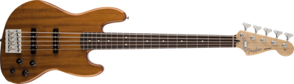 Fender Deluxe Active Jazz Bass Guitar V RW, Natural Okoume (5-String)