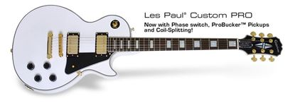 Picture of Epiphone Les Paul Custom Pro Electric Guitar (Alpine White)