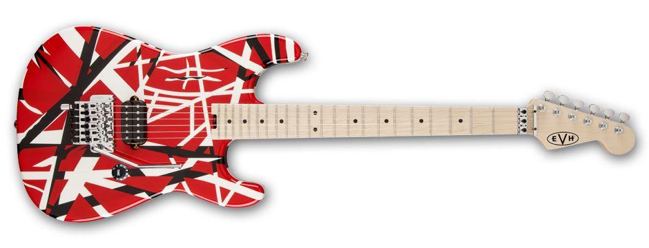 cda589b7fa7 EVH Striped Series Electric Guitar Red w Black  White Stripes ...