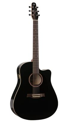 Seagull Entourage Acoustic Guitar - Black Gloss Top with Cutaway and QI Pickup