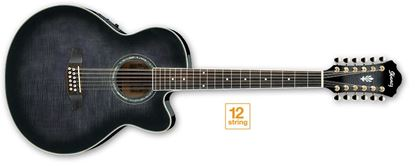 Picture of Ibanez AEL2012E 12-String Acoustic Guitar with Pickup - Transparent Black Sunburst High Gloss