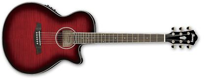 Picture of Ibanez AEG24II Acoustic Guitar with Pickup - Transparent Hibiscus Red Sunburst High Gloss