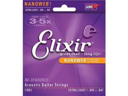 Picture of Elixir 10-47 Acoustic Guitar Strings NANOWEB 80/20 Coated Extra Light Gauge