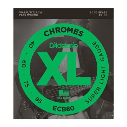 D'Addario ECB80 Bass Guitar Strings 40-95 Chromes Flatwound