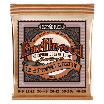 Ernie Ball E2153 9-46 12-String Acoustic Guitar Strings Light Phosphor Bronze