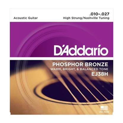 Picture of D'Addario EJ38H Acoustic Guitar Strings 10-27 Phosphor Bronze High String/Nashville Tuning