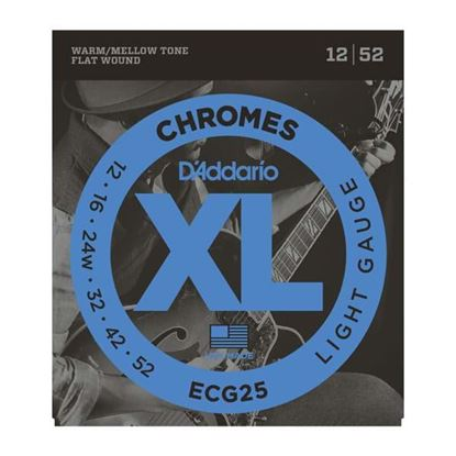 D'Addario ECG25 Electric Guitar Strings 12-52 Chromes Flat Wound Light