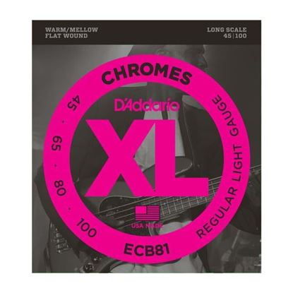 D'Addario ECB81 Bass Guitar Strings 45-100 Chromes Flat Wound Long Scale