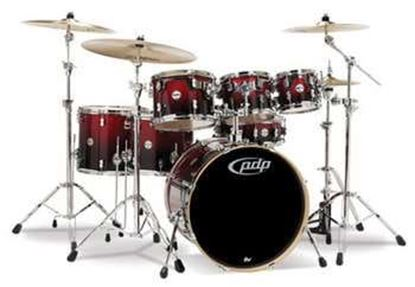Picture of DW Concept Series 7-piece Maple Drum Kit - Red to Black Sparkle Fade