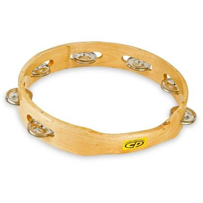 CP 389 10 inch Wood Headless Tambourine, Single Row Jingles