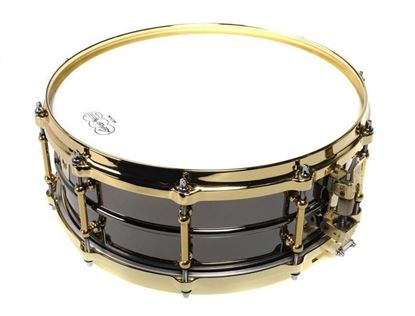 Ludwig L1LB417BT 14x6.5 Inch Black Beauty Smooth Brass Shell Tube Lugs Snare Drum - Black Chrome