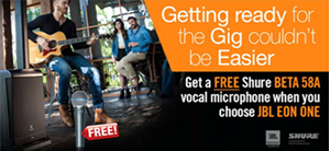 FREE Shure BETA 58A with JBL EON ONE