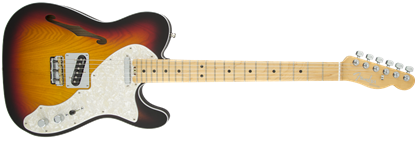 Fender American Elite Telecaster Thinline Electric Guitar MN, 3-Colour Sunburst