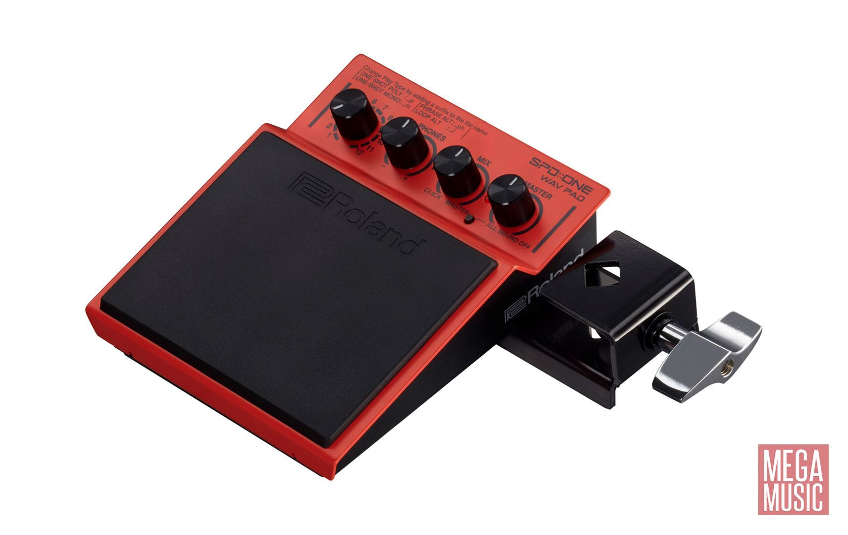 Roland SPD ONE WAV PAD Percussion Pad - shown with mounting bracket