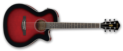 Ibanez AEG8E TRS Acoustic Guitar w P/up Trans Red Sunburst