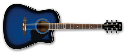 Ibanez PF15ECE TBS Acoustic Guitar Trans Blue High Gloss