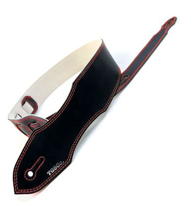 The Guitar Strap Co Original Series - Black Leather Red Stitch Guitar Strap