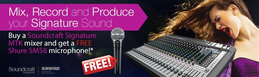 FREE Shure SM58 with Soundcraft Signature MTK mixer
