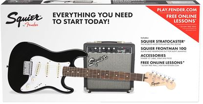 Squier Stratocaster SS Electric Guitar Pack with Fender Frontman 10G Amplifier - Black (Junior Size)