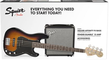 Squier Affinity PJ Bass Guitar Pack with Rumble 15 Bass Amplifier - Brown Sunburst