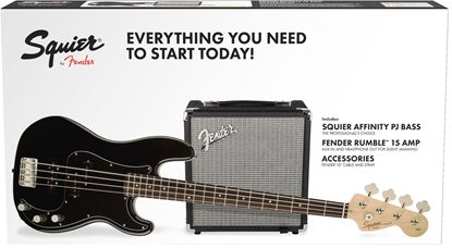 Squier Affinity PJ Bass Guitar Pack with Rumble 15 Bass Amplifier - Black