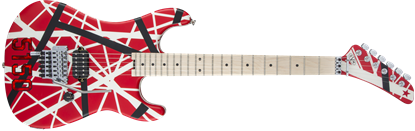 EVH Striped Series 5150 Electric Guitar Red w Black &White Stripes