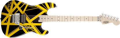 EVH Striped Series Electric Guitar Black w Yellow Stripes