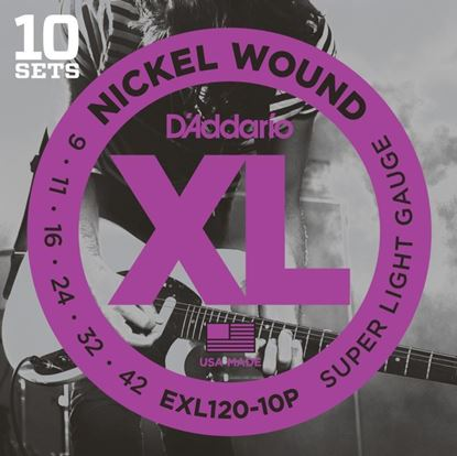 D'Addario EXL120 Nickel Super Light Electric Guitar Strings - 10 PACK 9-42
