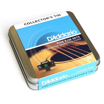 D'Addario EJ16 Acoustic Guitar Strings 5 Pack Tin (12-53 Phosphor Bronze Light) with Tuner