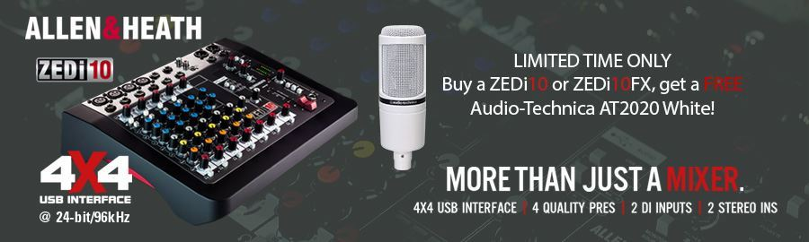 FREE Audio Technica AT2020WH with ZEDi10 and ZEDi10FX Mixer