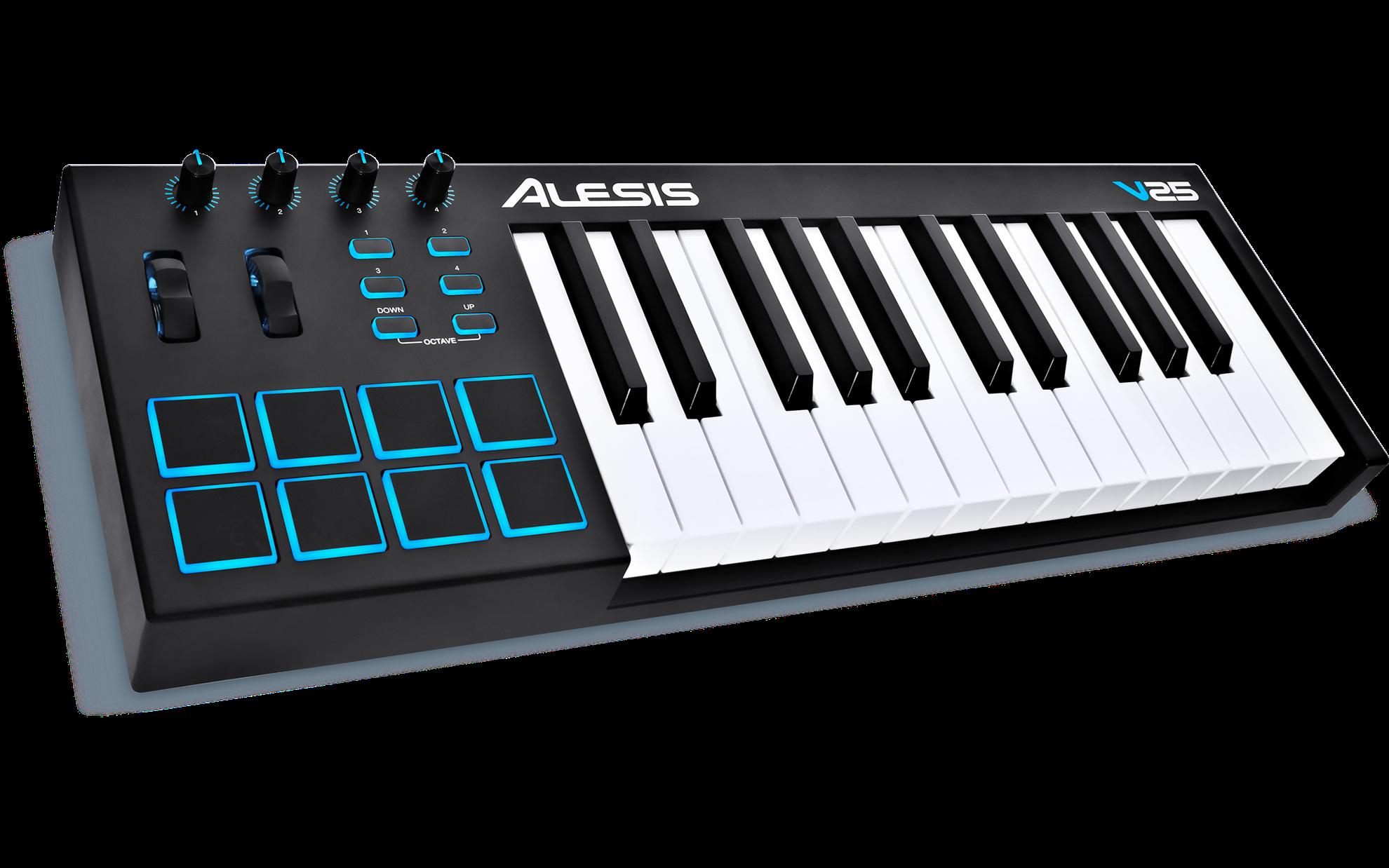 alesis v25 25 key usb midi keyboard controller perth mega music online. Black Bedroom Furniture Sets. Home Design Ideas