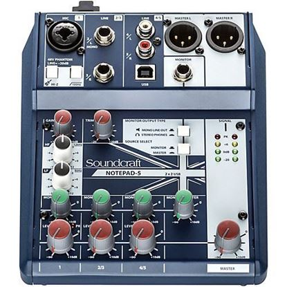 Soundcraft Notepad-5 Small-Format Analog Mixing Console with USB I/O