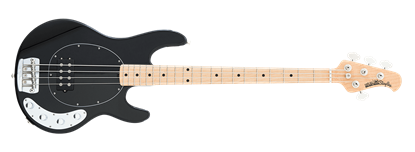 Ernie Ball Music Man StingRay 4 Electric Bass Guitar Black w Black Pickguard & Maple Fretboard