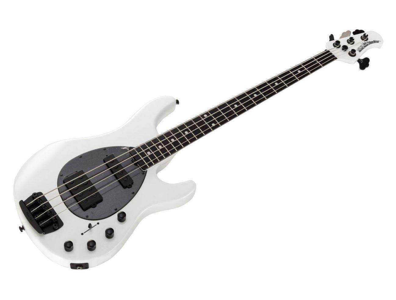 ernie ball music man stingray 4 bass guitar ebony fretboard black hardware stealth pearl white. Black Bedroom Furniture Sets. Home Design Ideas