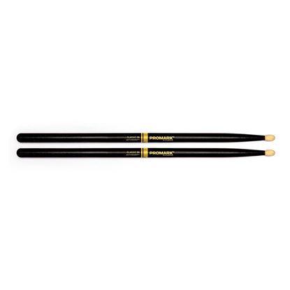 Promark Classic 5B ActiveGrip Drumsticks - Oval Tip Black