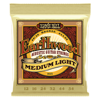 Ernie Ball 2003 Earthwood Medium Light 80 20 Bronze Acoustic Guitar Strings
