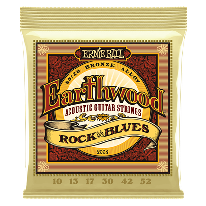 Ernie Ball 2008 Earthwood Rock and Blues with Plain G 80 20 Bronze Acoustic Guitar Strings
