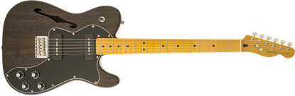 Fender Modern Player Telecaster Thinline Deluxe Electric Guitar - Maple Neck - Black Transparent