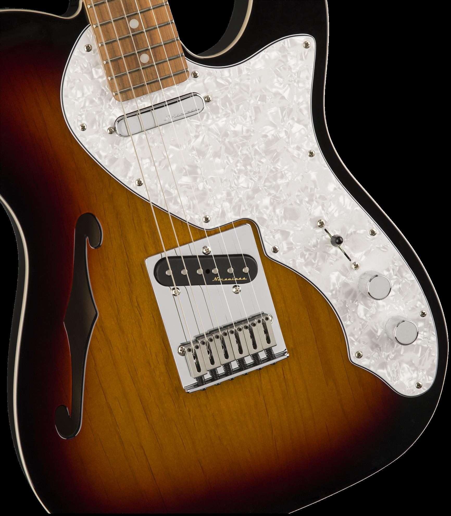 Fender Deluxe Telecaster Thinline Electric Guitar - Pau Ferro Fretboard -3 Colour Sunburst