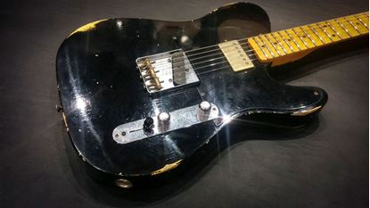 Fender Custom Shop 1952 Telecaster HS Electric Guitar - Aged Black Over Nocaster Blonde