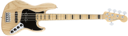 Fender American Elite 5 String Jazz Bass Guitar - Maple Neck - Natural