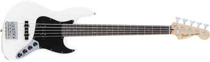 Fender Deluxe Active 5 String Jazz Bass Guitar - Rosewood Neck - Olympic White